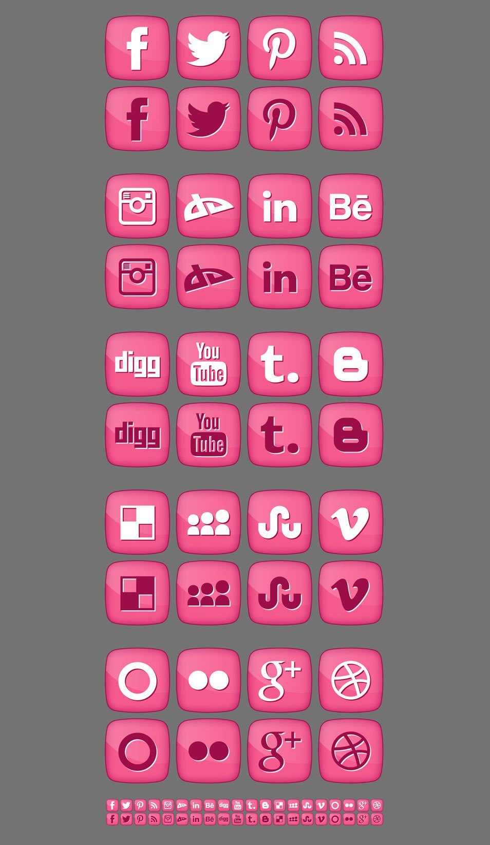 Free Pink Girly Social Media Icons 2012