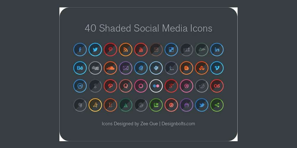 Free Shaded Social Media Icons