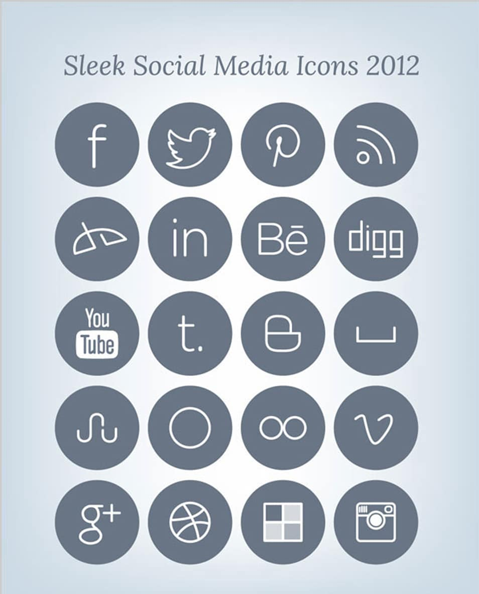 Free Simple Sleek Social Media Icons Set 2012