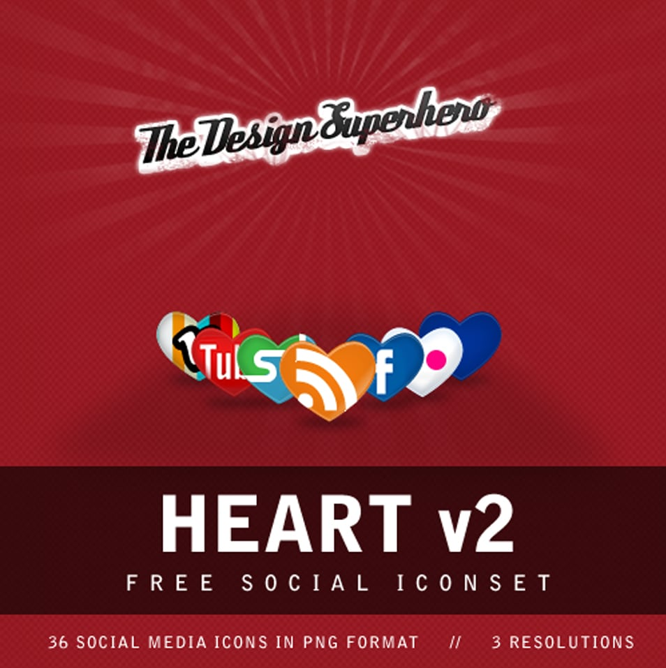 Free Social Iconset in Heart Shape
