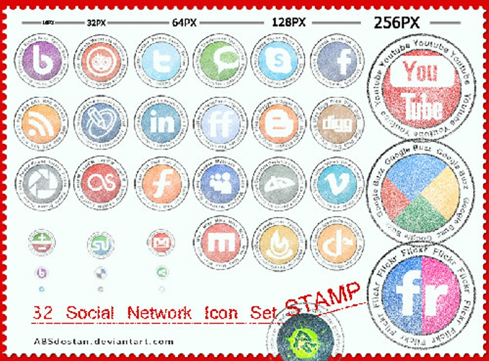 Free Stamp Social Network Icon Set