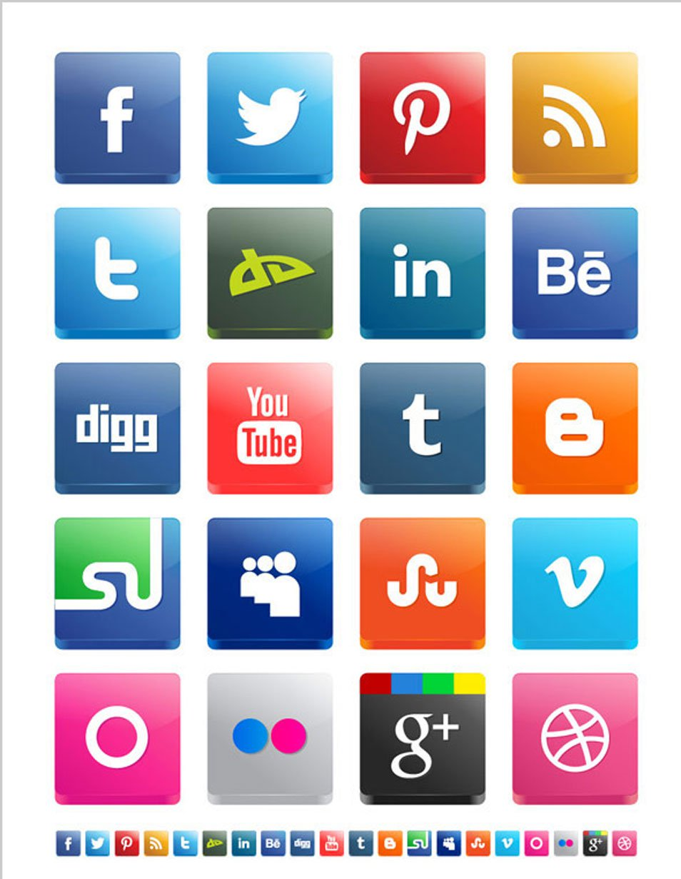 Free Vector 3D Social Media Icon Pack 2012