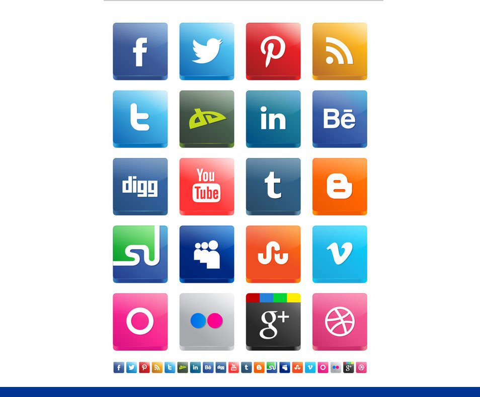 Free Vector 3D Social Media Icon Set