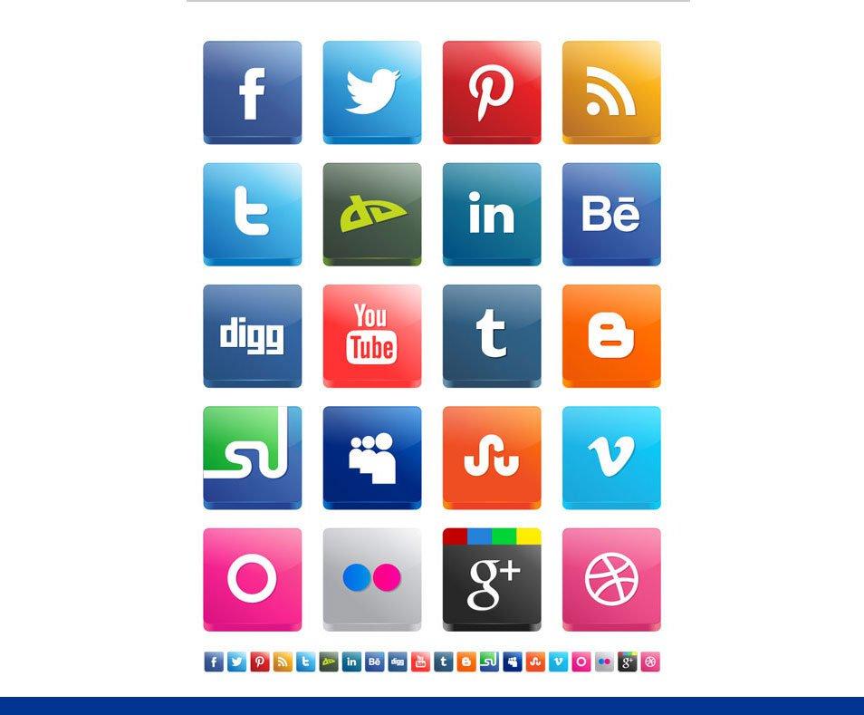 Free Vector 3D Social Media Icon Set
