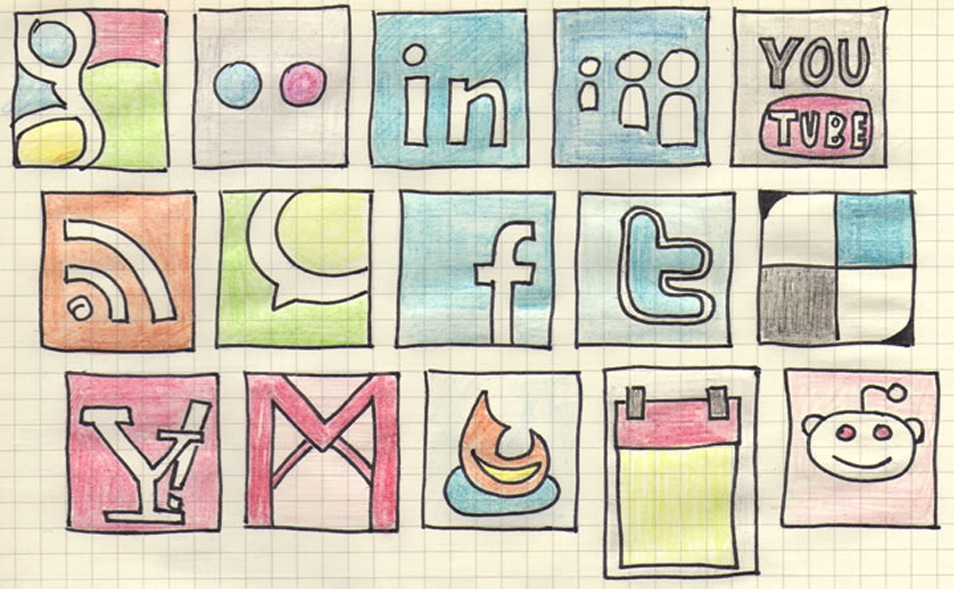 Free social networking hand drawn doodle icon set