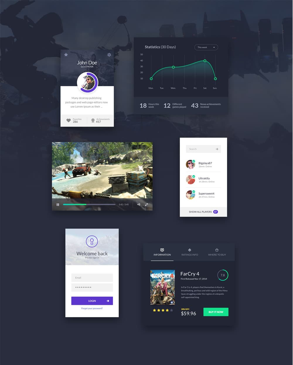 Gaming UI Kit PSD