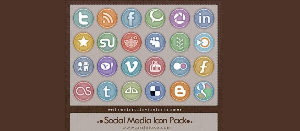 Glossy Aqua Style Social Media Icon Pack