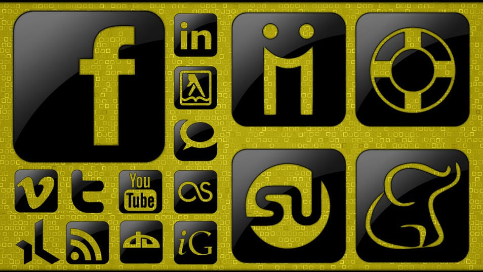 Glossy Black Social Media Icons