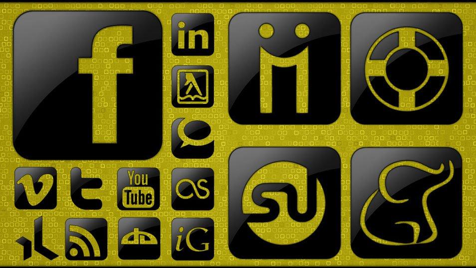 Glossy Black Social Media Icons