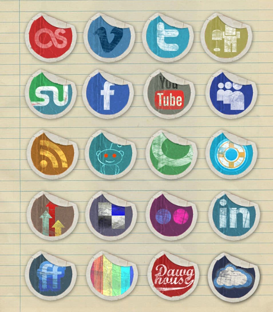 Grunge Peeling Stickers Social Media Icons