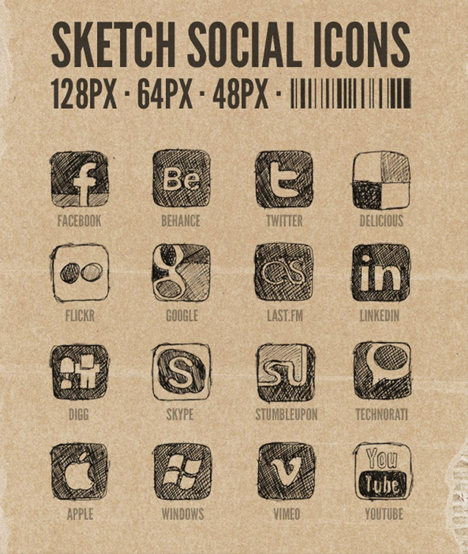 Hand Drawn Sketchy Social Media Icons