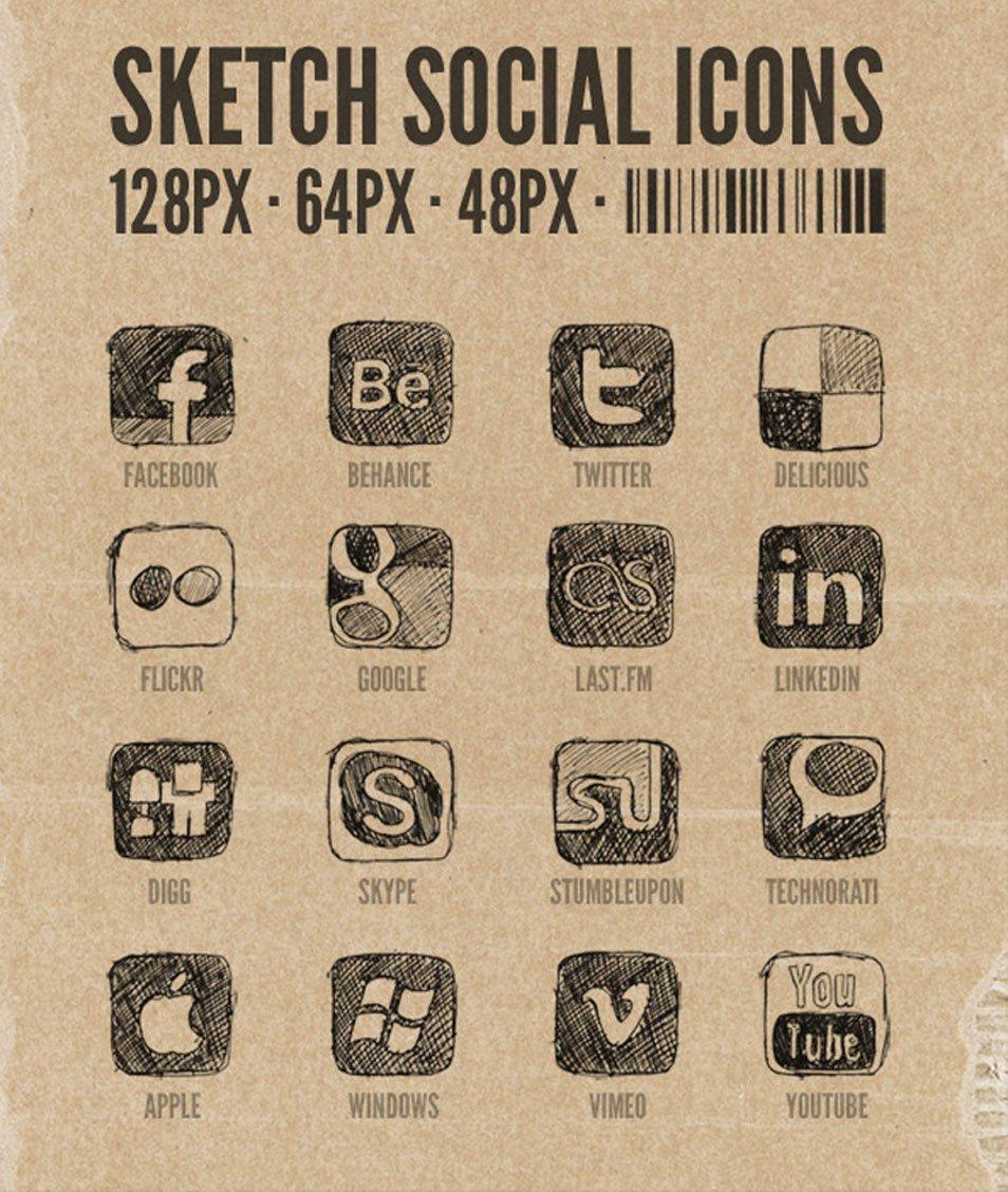 Hand Drawn Sketchy Social Media Icons