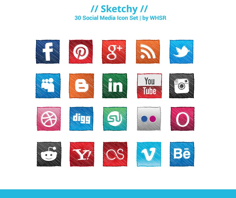 Sketchy: Hand-Sketch Social Media Icon Set