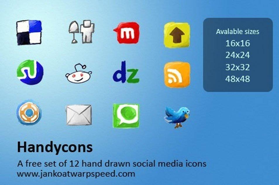 Handycons – a free, hand drawn social media icon set
