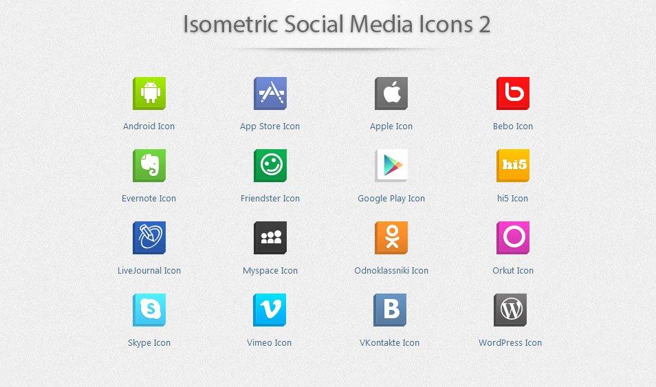 Isometric Social Media Icons 2