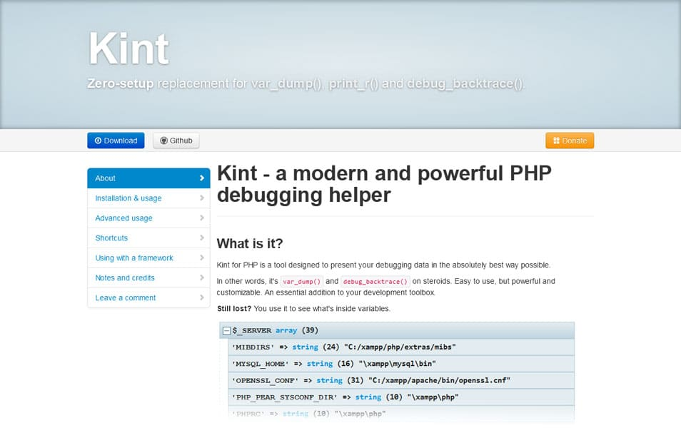 Kint debugging tool for PHP