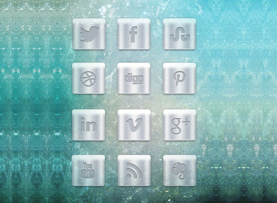 Large Metallic Social Media Icon Set