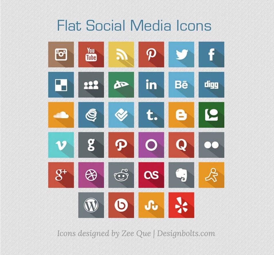 Long Shadow Flat Free Social Media Icons 2013