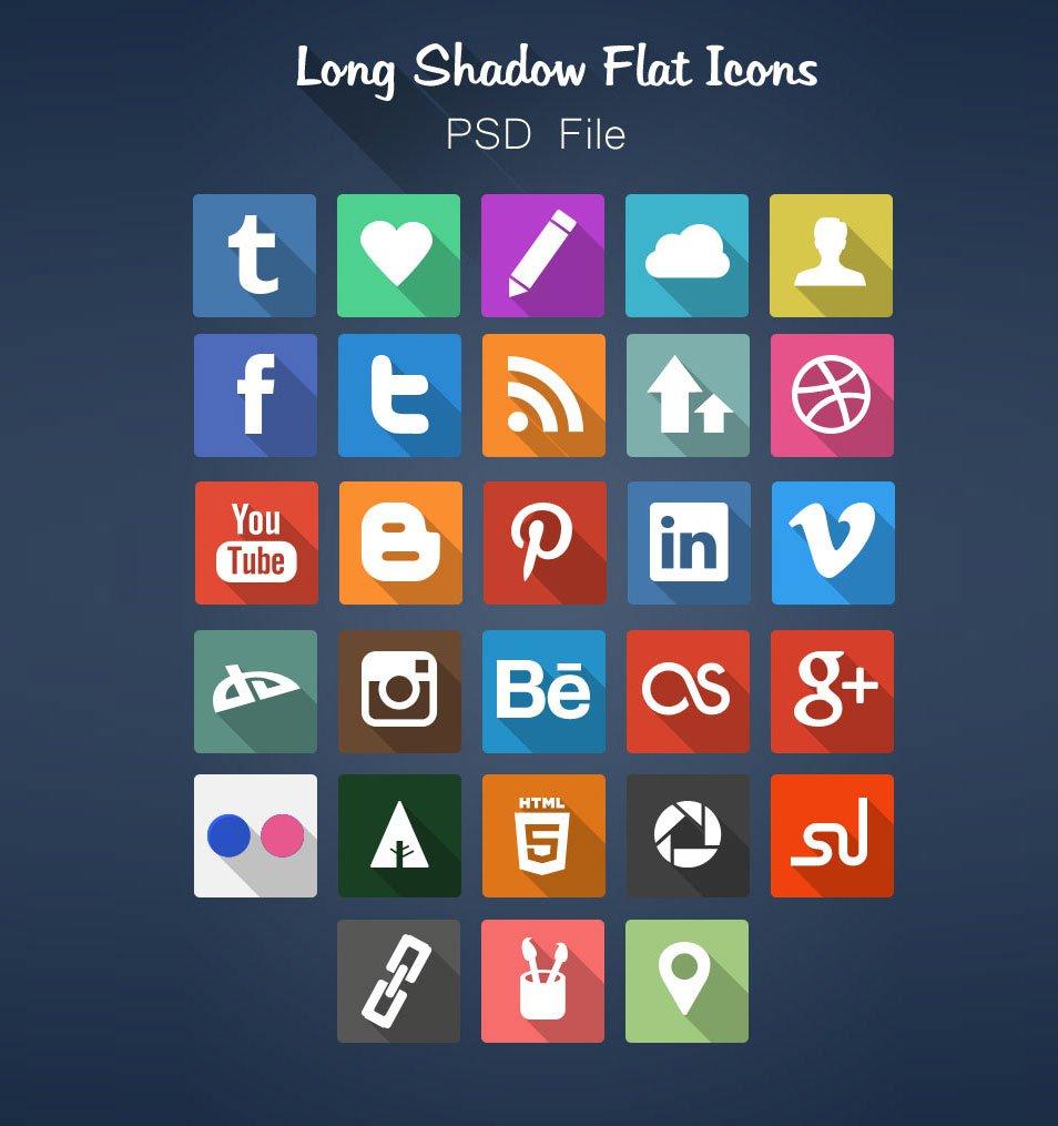 Long Shadow Flat Icon Set Free PSD