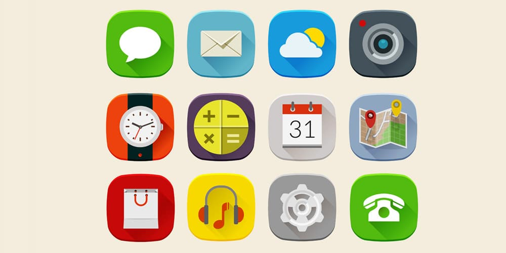 Long Shadow Mobile Icons Set