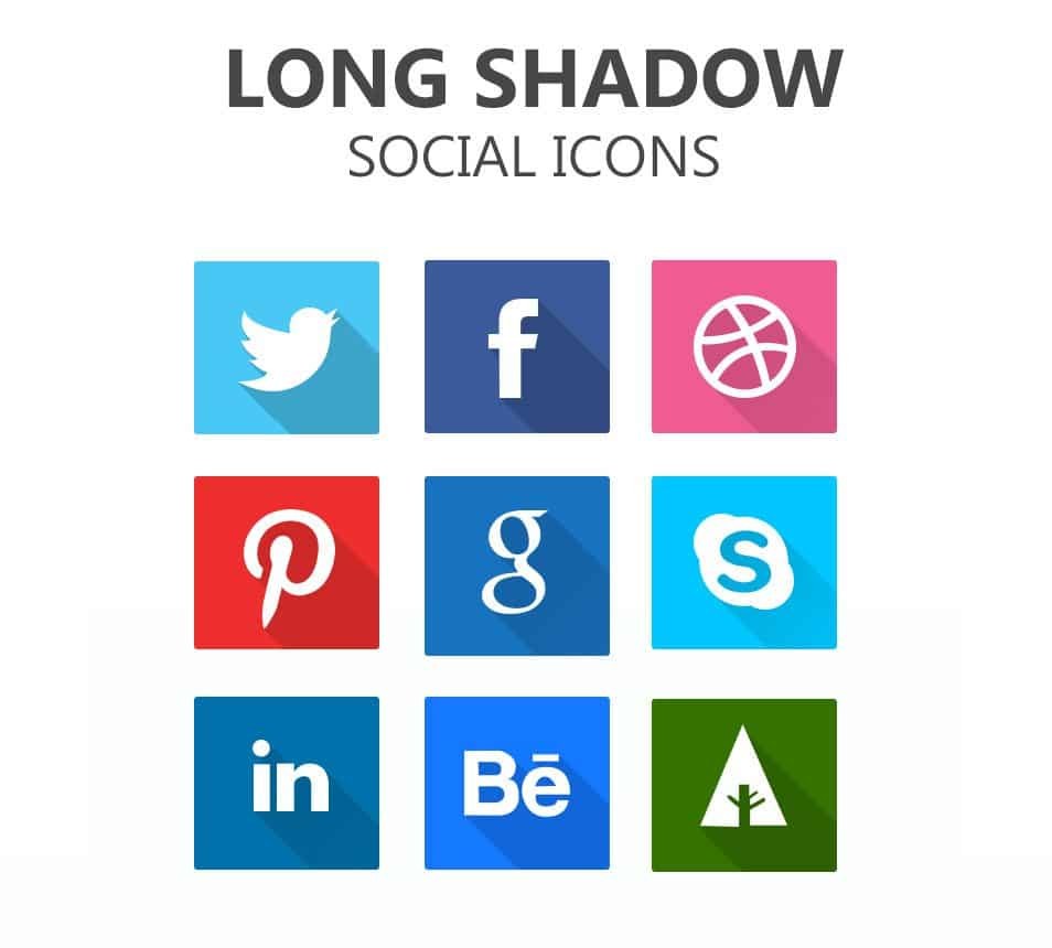 Long Shadow Social Icons PSD