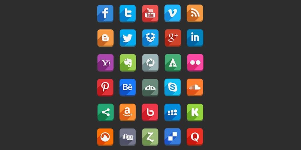 Long Shadow Social Media Icon
