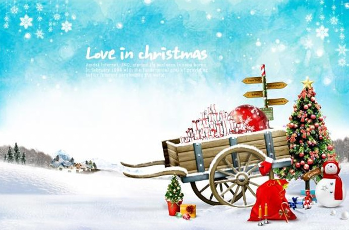 Love in Christmas holiday cards psd
