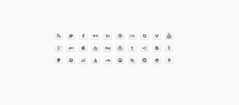 Mono DC – Black & White Monochrome Social Icons