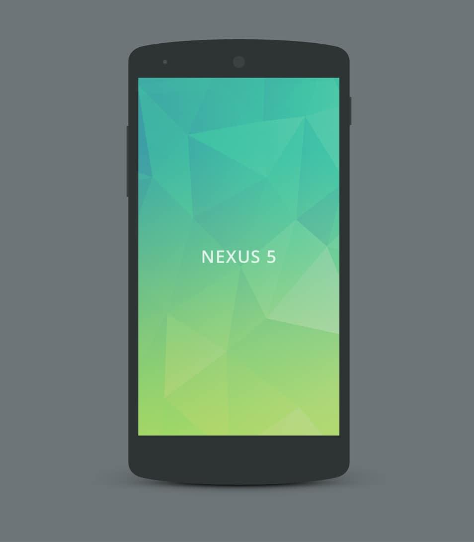 Nexus 5 flat mockup PSD