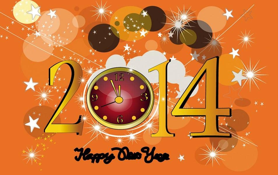 Orange New Year 2014 HD Wallpaper