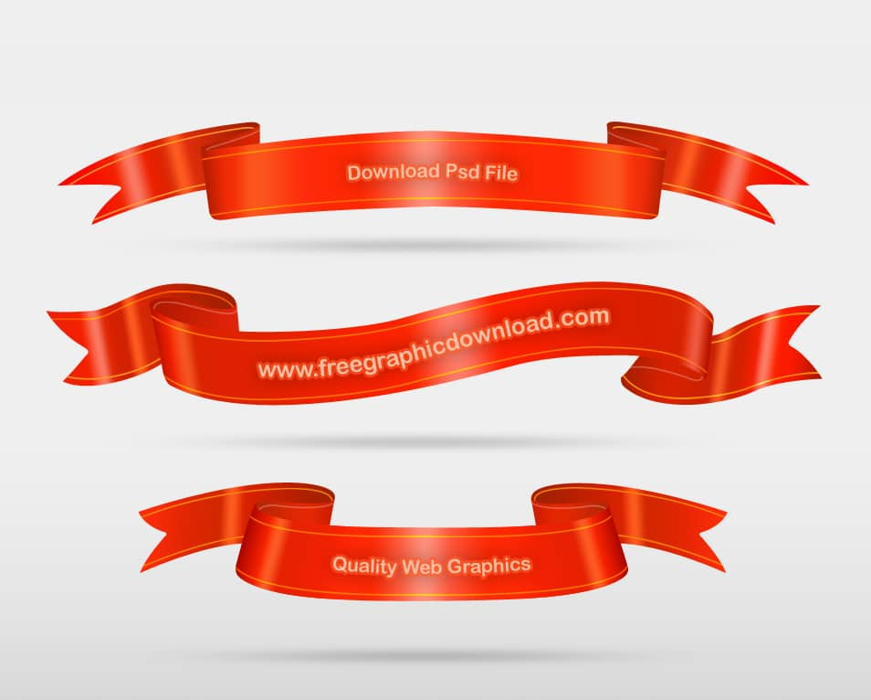 Red Ribbon Set Template Psd