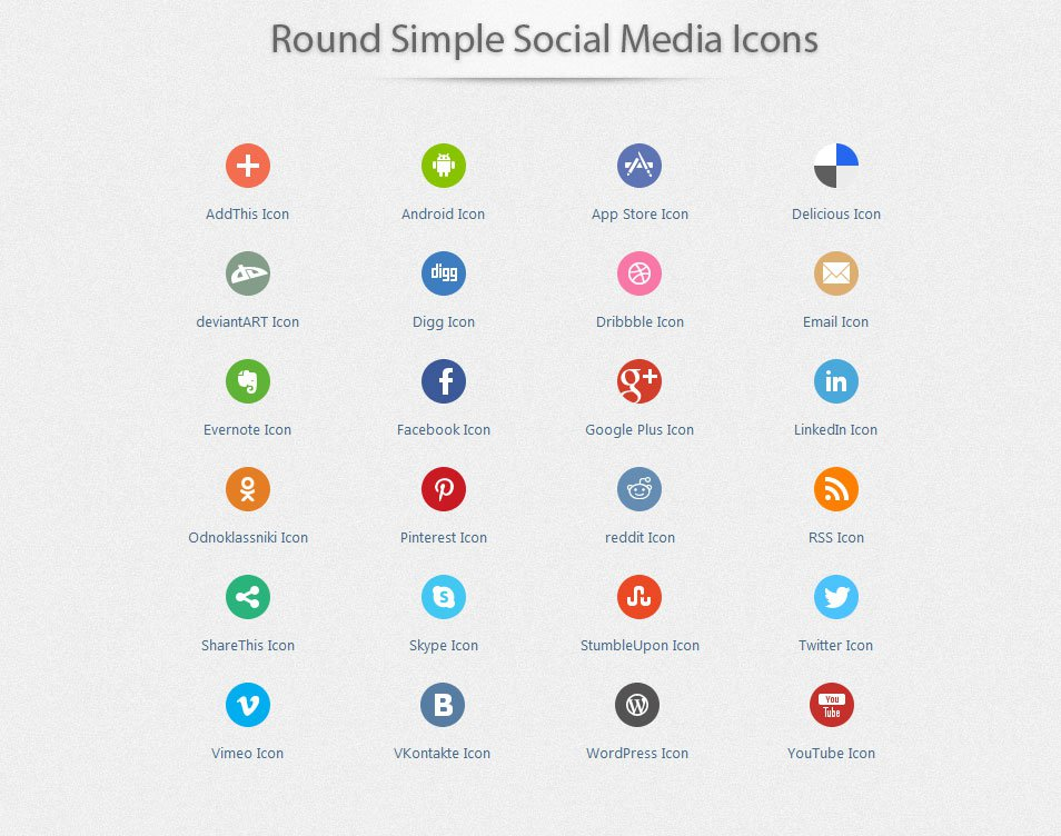 Round Simple Social Media Icons