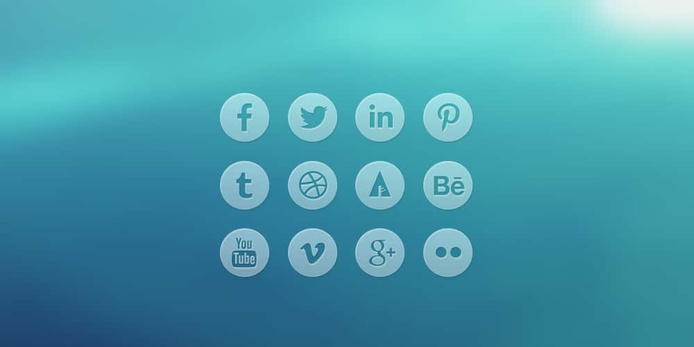 Round Transparent Social Media Icons PSD