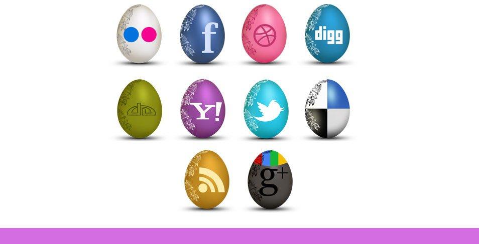 Set of Egg-Shaped Social Icons
