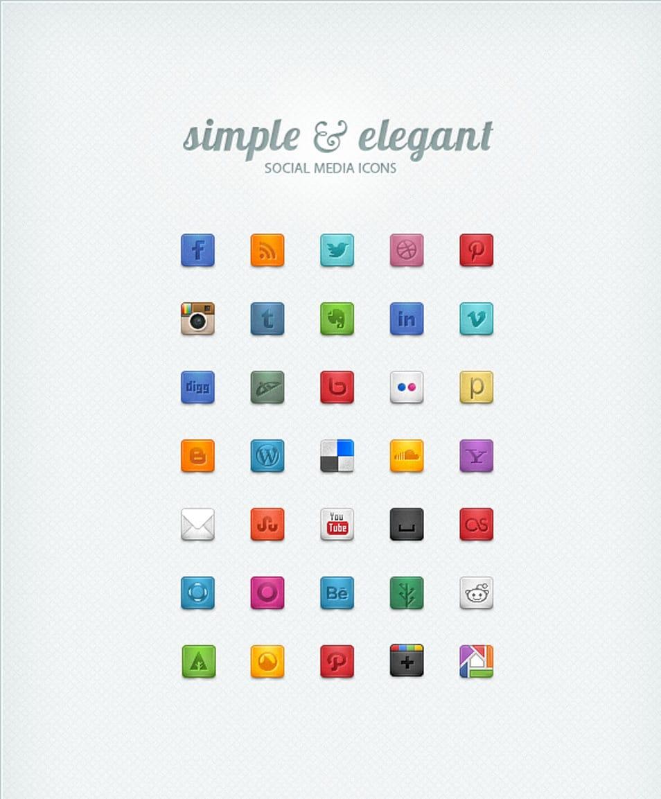 Simple & Elegant Social Media Icons