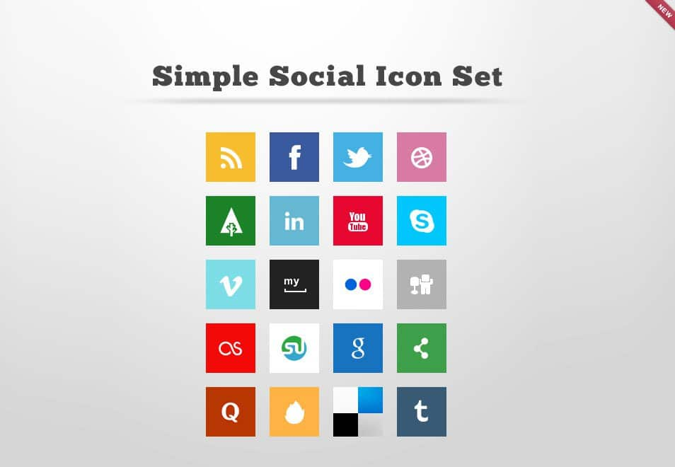 Simple Social Icon Set