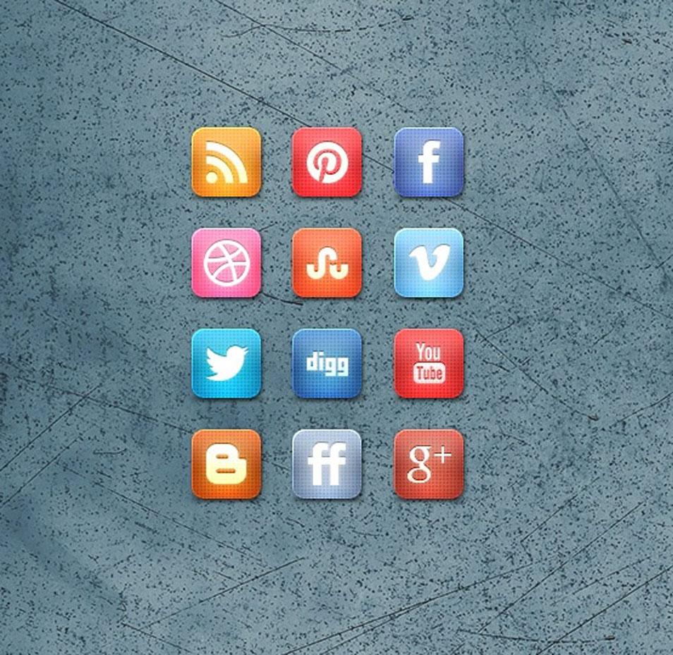 Slick Grid Style Free Social Media Icon Set