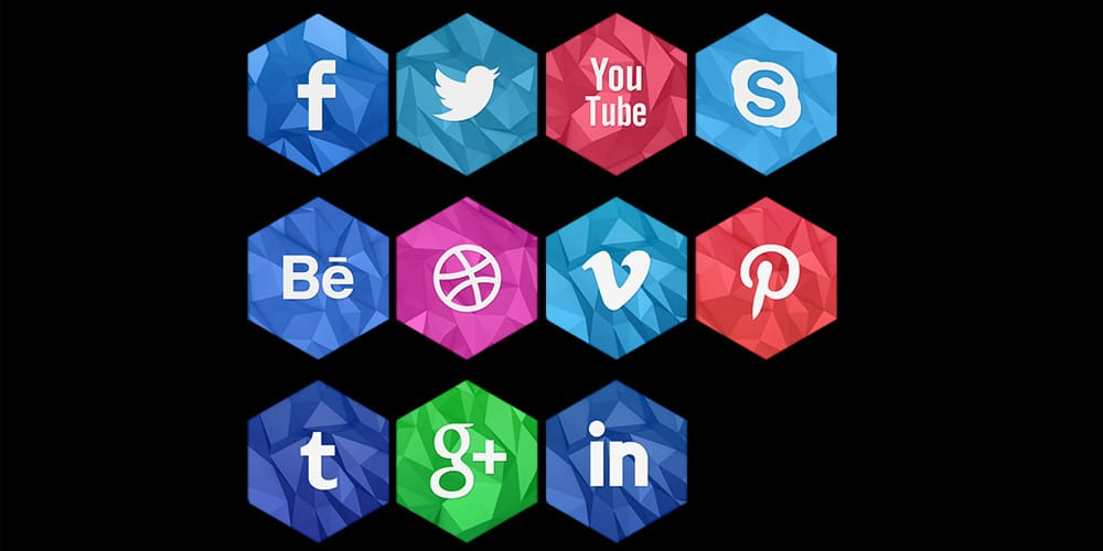 Social Icons 2D and 3D Free PSD