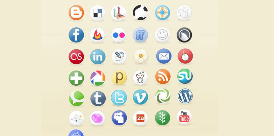 Social Media Circles Icon Set