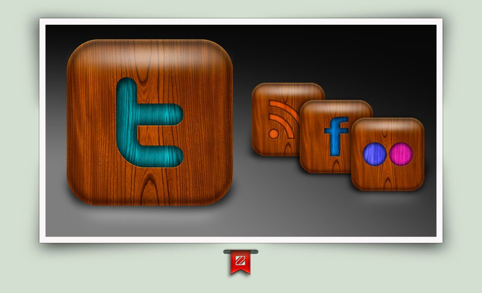 Social Media Wood icons