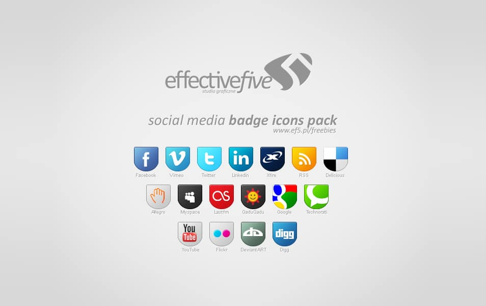Social Media badge icons set