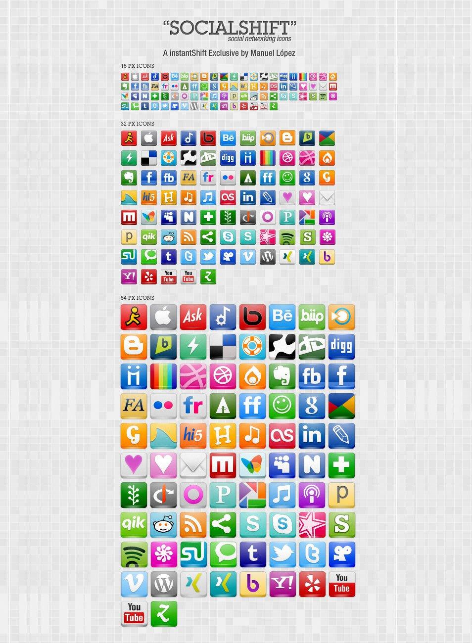 SocialShift Icon Set: 246 Free Social Networking Icons