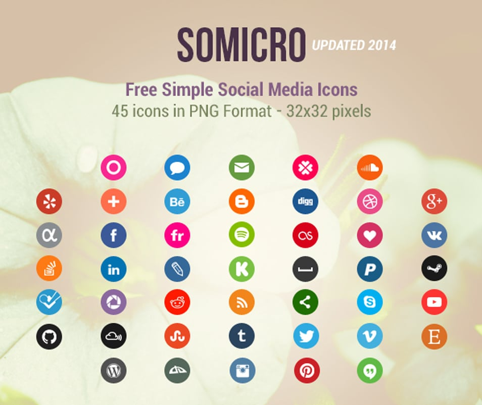 Somicro: 40 Free Social Media Icons