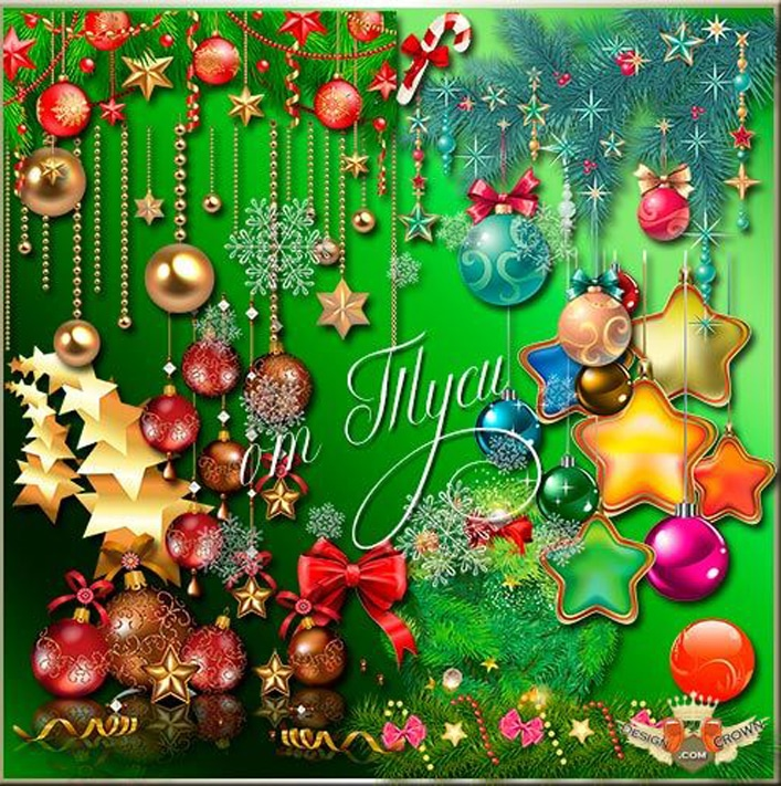 Sparkling Backgrounds and Different Christmas Elements and Decorations