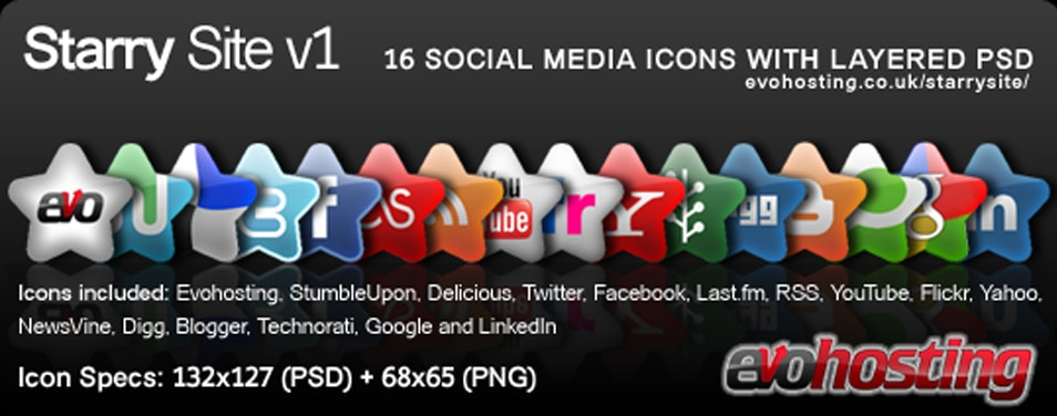 Starry Site – NEW 16 Social Media Icons PSD