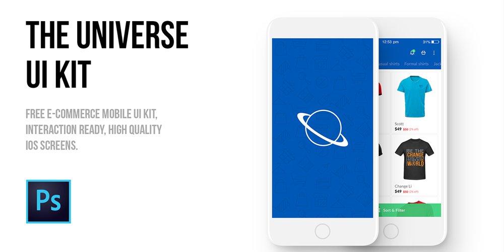 The Universe E-commerce Mobile UI kit PSD