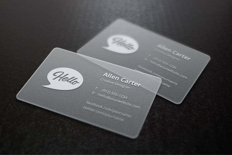 Translucent Business Cards MockUp