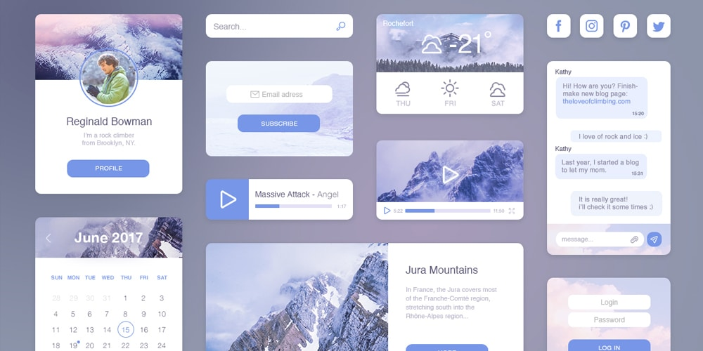 Travel UI kit PSD