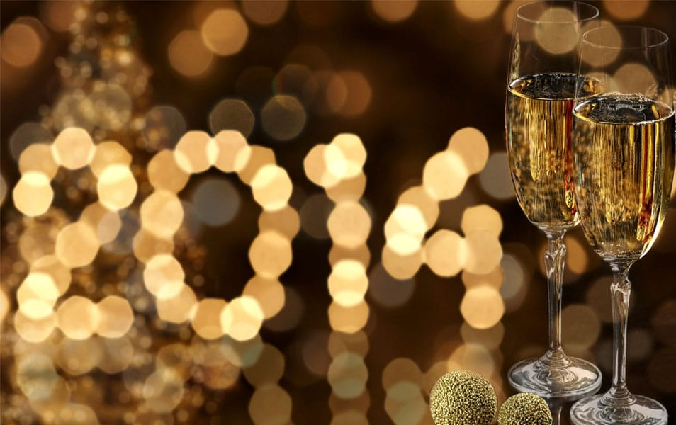 Two glasses of champagne Happy new year 2014