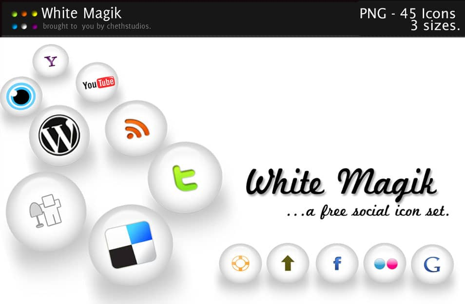 WHITE MAGIK – A Free Social Icon Pack